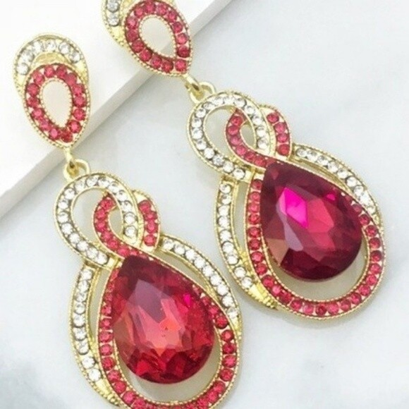 Red Gold Special Occasion Crystal Earrings