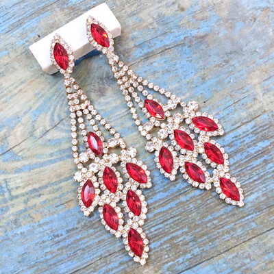 Red Rhinestone Chandelier Earrings