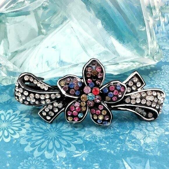 Flower and Bow Crystal Hair Barrette