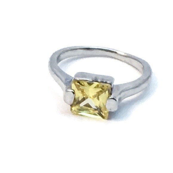 Square Cut Yellow Faux Citrine Silver Ring Size 7.5