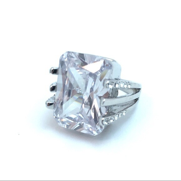 Bold Square Cut CZ Cocktail Ring - Size 5.5