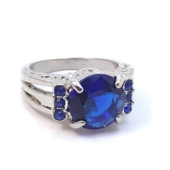 Blue Crystal Gemstone Ring Size 6