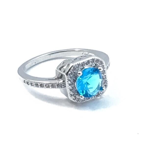 Faux Aquamarine Ring Size 6