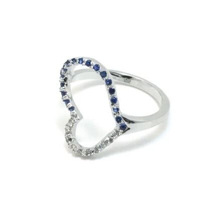 Blue Rhinestone Heart Adjustable Ring