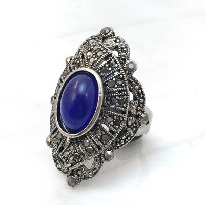 Marcasite Cocktail Ring Size 6.5