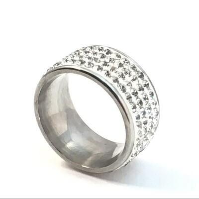 White Rhinestone Pave Ring Size 6.5