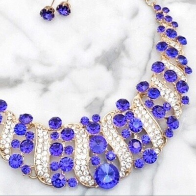 Rhinestone Crystal Statement Necklace & Earrings Set