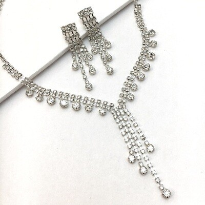 Rhinestone Waterfall Necklace & Earring Set