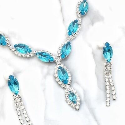 Aqua Crystal Rhinestone Necklace Set