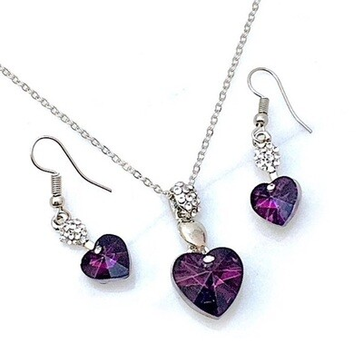 Purple Crystal Heart Necklace Earrings Set