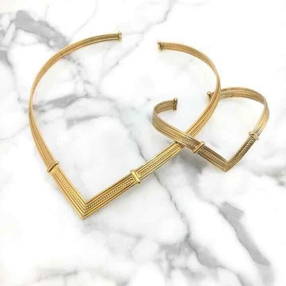 Gold Tone Rigid Torque Necklace & Bracelet Set