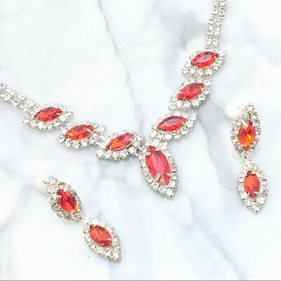 Red Rhinestone Necklace & Earrings Set