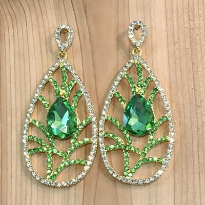 Leaf Inspired Crystal Chandelier Earrings