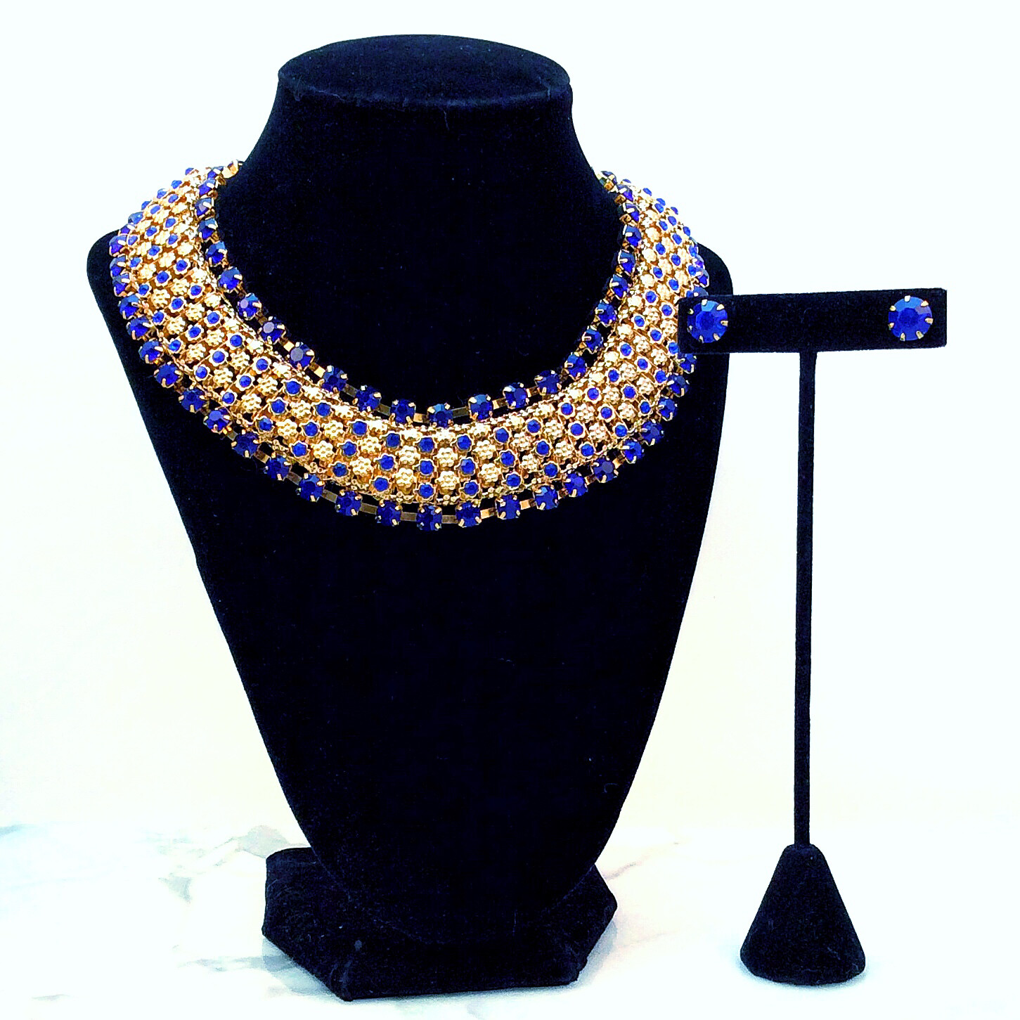 Blue & Gold Crystal Statement Necklace Set