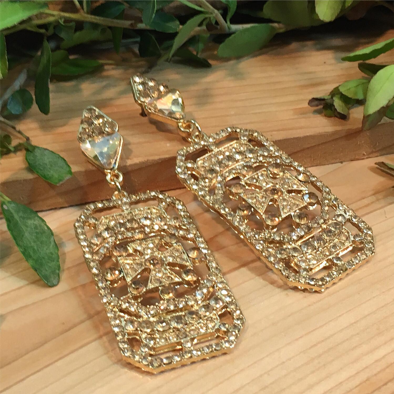 Champagne Crystal Chandelier Earrings