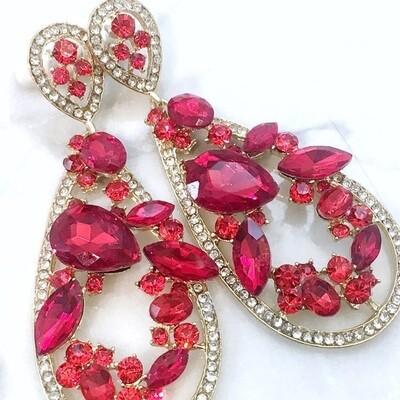 Red Crystal Chandeliers Event Earrings