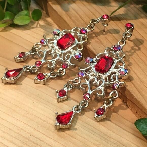 Red & AB Crystal Chandelier Earrings