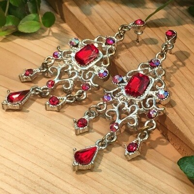 Red & AB Crystal Chandelier Earrings