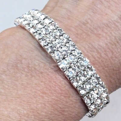 Rhinestone 3 Row Stretch Bracelet