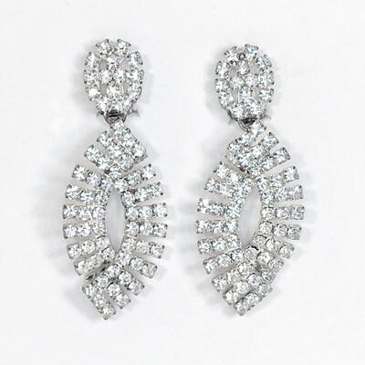 Vintage Clip Rhinestone Drop Earrings