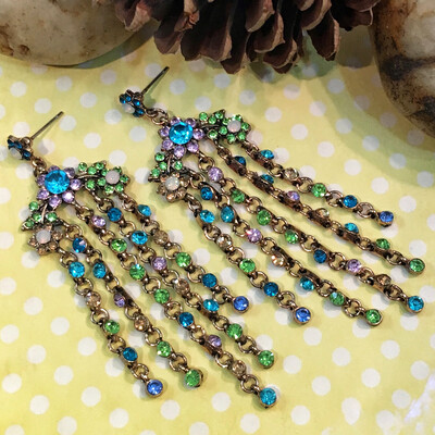 Multicolor Crystal Cascade Chandelier Earrings