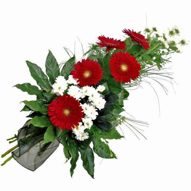 Smútočná kytica s červenými gerberami