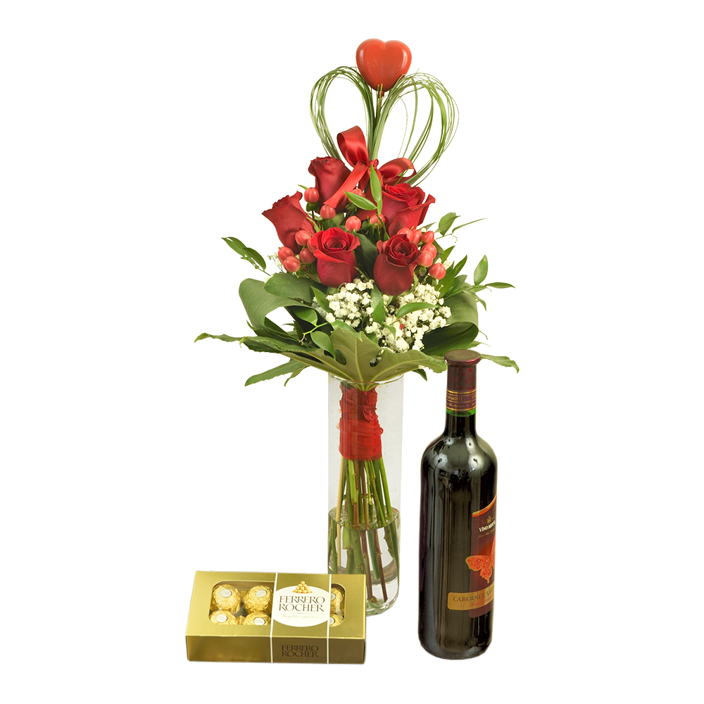 Červené ruže s červeným vínom a pralinkami