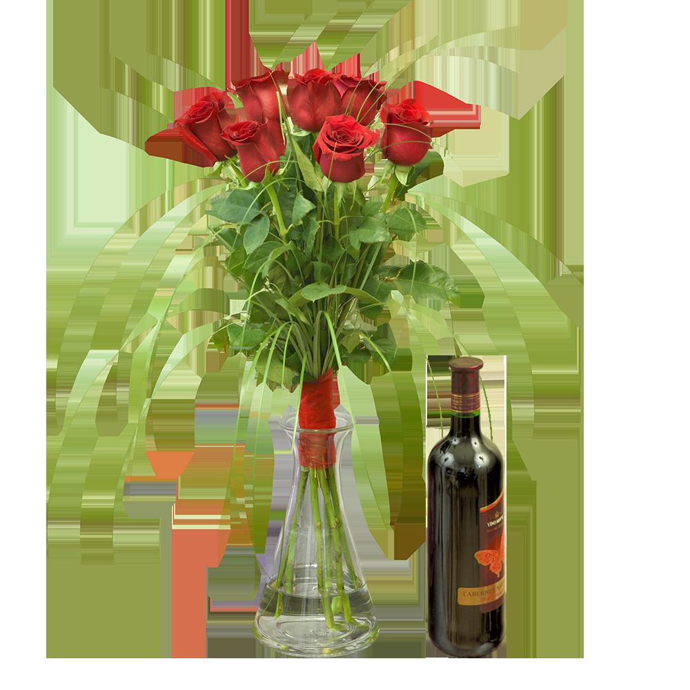 Valentínske ruže z lásky s červeným vínom