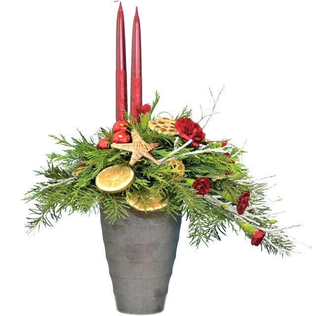 Vianočný svietnik červený