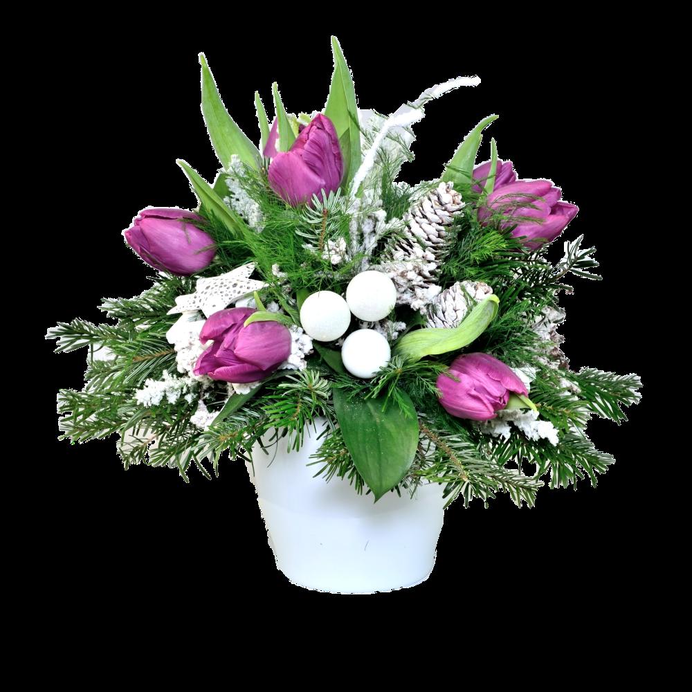Zasnežená fialová kytica s tulipánmi