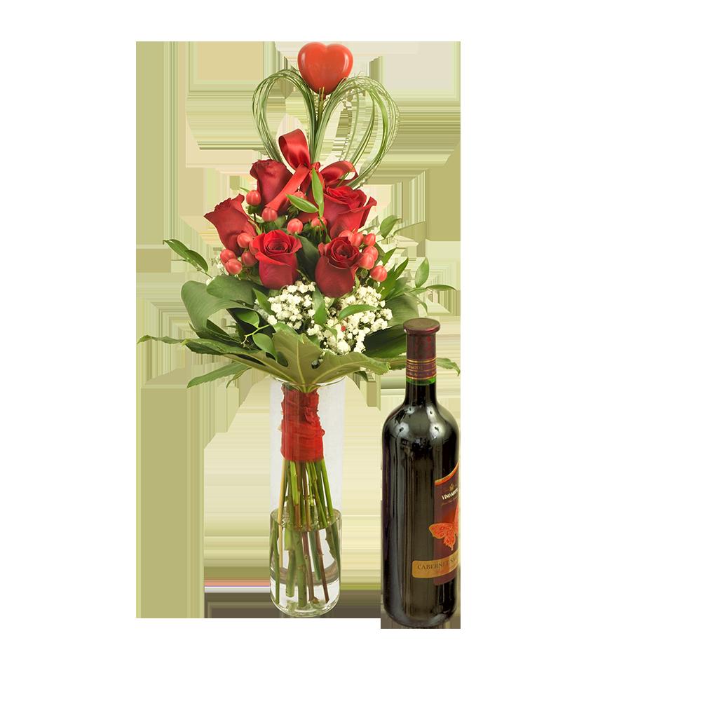 Kytica červených ruží s červeným vínom