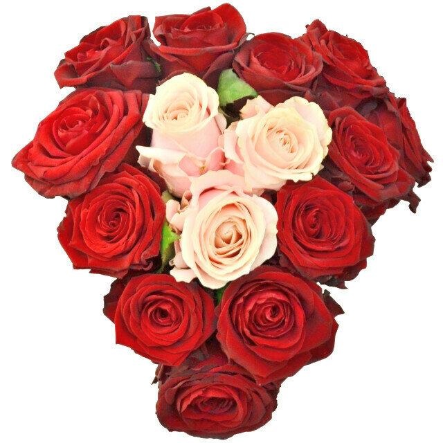 Srdce z ruží v kytici