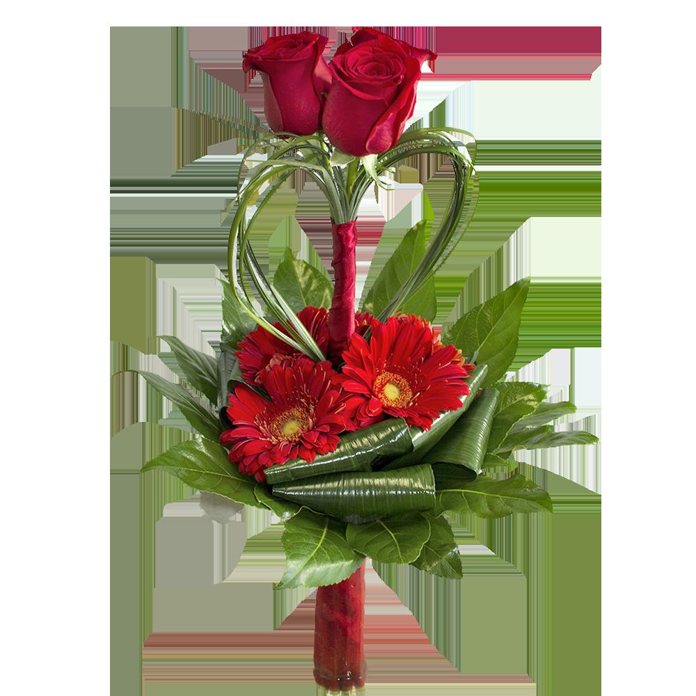 3 červené ruže so srdcom