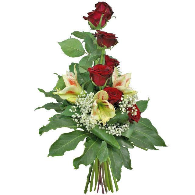 Kytica červených ruží s amarylisom