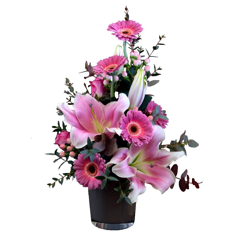 Ružový aranžmán s voňavou ľaliou