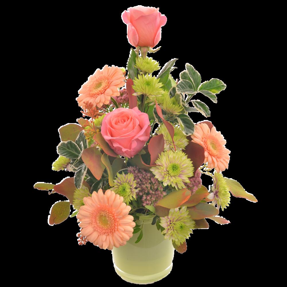 Ružovo-broskyňová kytica vo váze