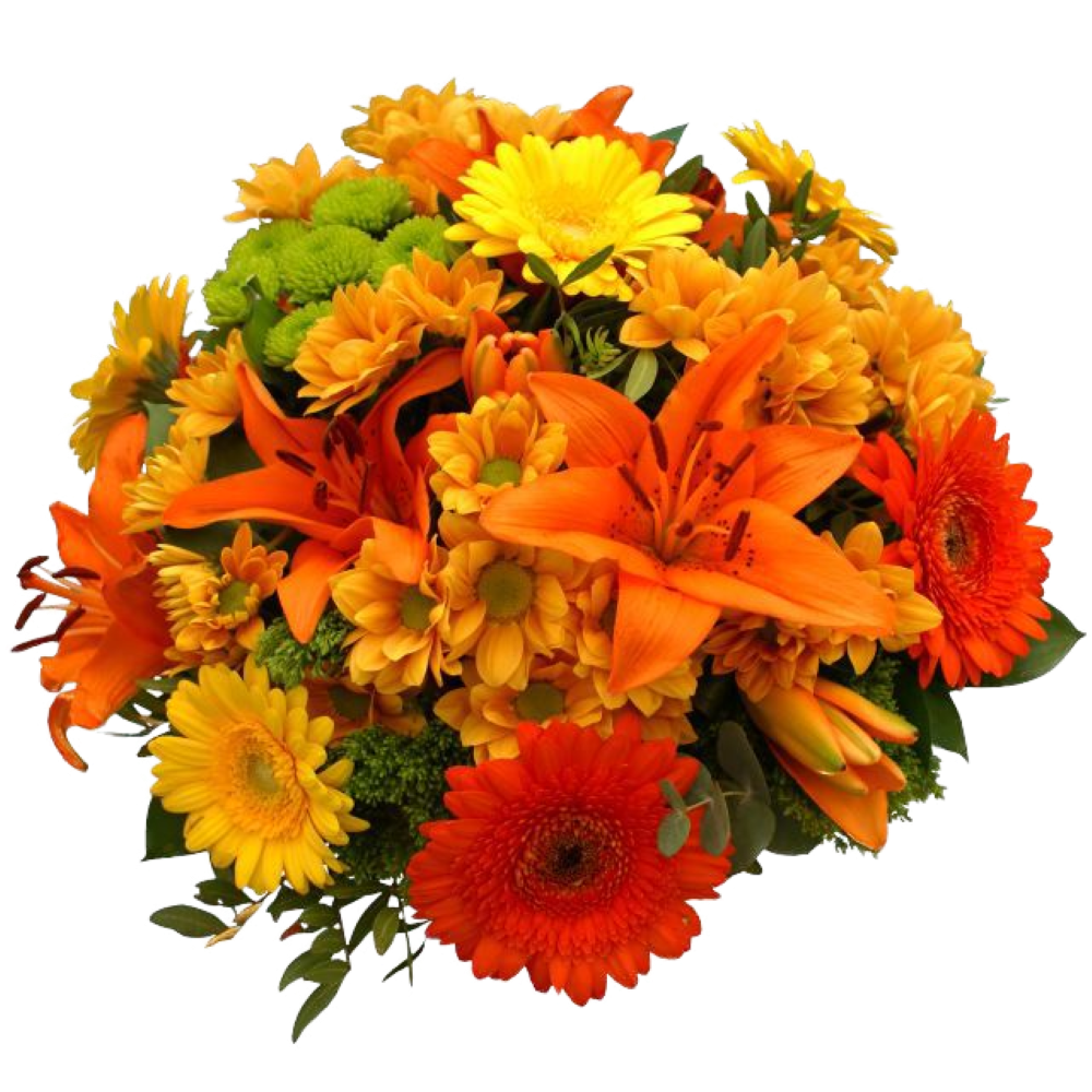 Oranžovo žltá kytica s ľaliami