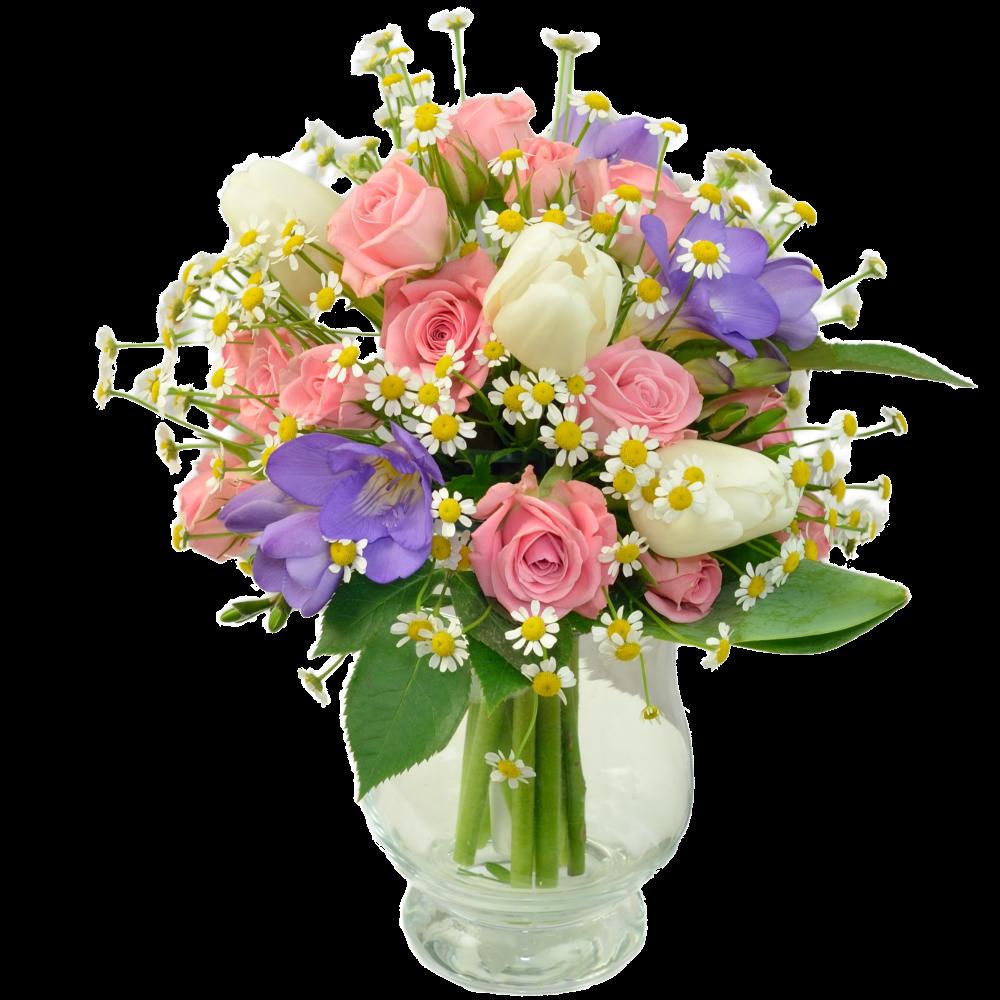 Romantická ružovo-modrá kytica s fréziou