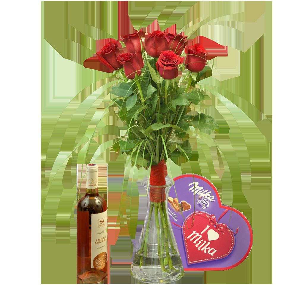Ruže z lásky s vínom a pralinkami