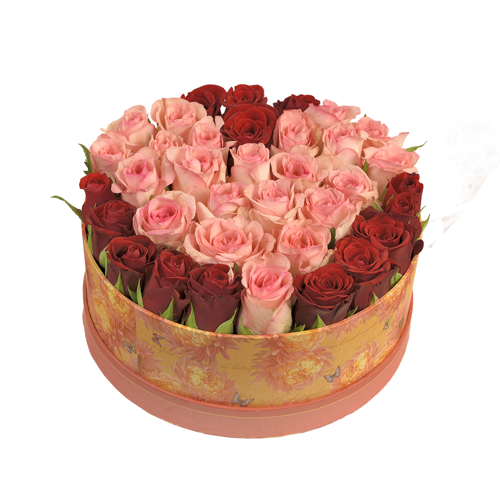 Ružové srdce v darčekovej krabice
