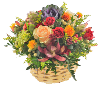 Košík kvetov zo septembrovej záhrady