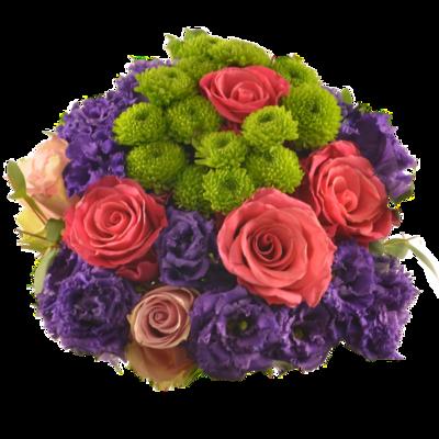 Kytica s fialovou eustomou a ružovými ružami