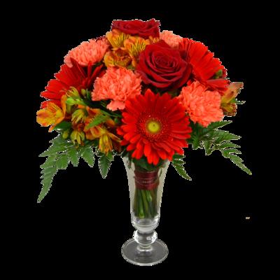 Červeno-oranžová narodeninová kytica