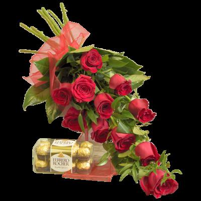 Kytica červených ruží s bonbónmi