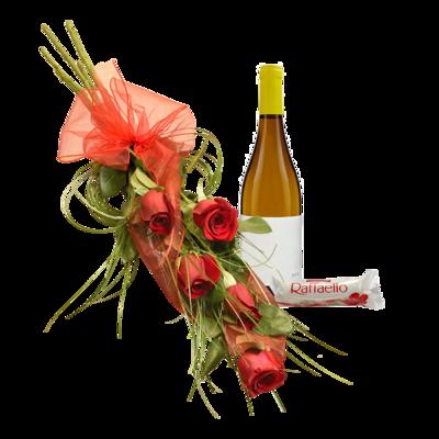 5 červených ruží s pralinkami a vínom