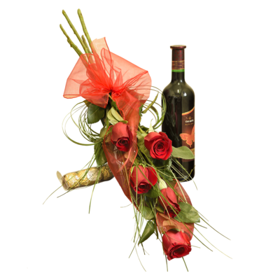 5 červených ruží s fľašou vína a bonbónmi