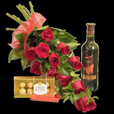 Červené ruže s fľašou vína a pralinkami