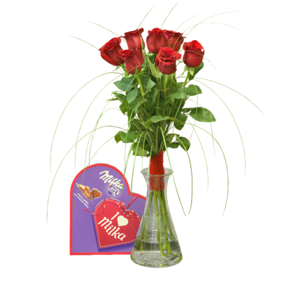 Valentínske ruže z lásky s pralinkami
