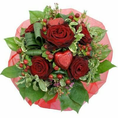 Valentínska kytica z červených ruží