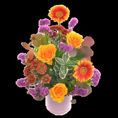 Fialovo-oranžová kytica vo váze